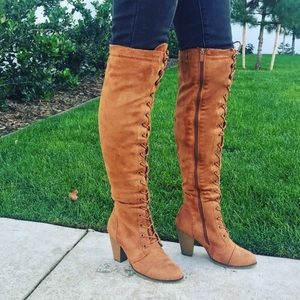 Cognac Chunky Heel Lace Up Boots